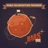 Винтажная открытка проекта колонизации Марса Стоковая Фотография RF