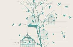 Винтажная открытка 4 птиц Стоковые Фото