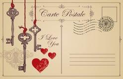 Винтажная открытка тема объявления влюбленности Стоковое Изображение RF