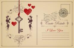 Винтажная открытка тема объявления влюбленности Стоковые Фото
