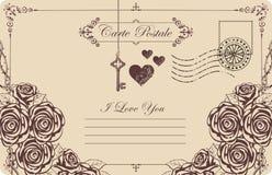 Винтажная открытка тема объявления влюбленности Стоковые Изображения RF