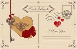 Винтажная открытка тема объявления влюбленности Стоковая Фотография