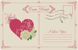 Винтажная открытка тема объявления влюбленности Стоковые Изображения