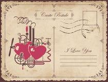 Винтажная открытка тема объявления влюбленности Стоковое фото RF