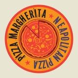 Винтажная печать или бирка пиццы с пиццей текста неаполитанской иллюстрация вектора