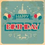 Винтажная поздравительая открытка ко дню рождения Стоковая Фотография RF