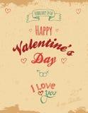 Винтажная поздравительная открытка валентинки Стоковые Изображения RF