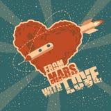 Винтажная поздравительная открытка космоса с формой Марсом сердца Стоковое Изображение