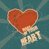 Винтажная поздравительная открытка космоса с формой Марсом сердца Стоковая Фотография