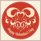 Винтажная поздравительная открытка на праздник дня валентинок Стоковое Изображение