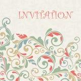 Винтажная поздравительная открытка, приглашение с флористическими орнаментами Стоковое Изображение