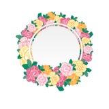 Винтажная поздравительная открытка с зацветая цветками также вектор иллюстрации притяжки corel Стоковые Фотографии RF