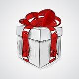 Винтажная подарочная коробка с смычком, vector схематичная иллюстрация, нарисованная вручную Стоковое фото RF