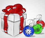 Винтажная подарочная коробка с шариками смычка и рождества, vector схематичная иллюстрация, нарисованная вручную Стоковые Изображения