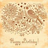 Винтажная праздничная карточка с цветками и птицами иллюстрация штока