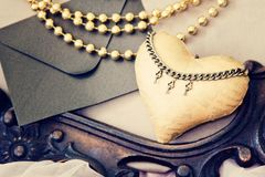 Винтажная предпосылка с сердцами на день Валентайн handmade фото стоковое фото