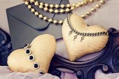 Винтажная предпосылка с сердцами на день Валентайн handmade фото стоковое изображение
