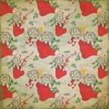 Винтажная предпосылка Chrismtas - коллаж праздника - падуб - кот - чулок - сделанная по образцу бумага цифров иллюстрация штока
