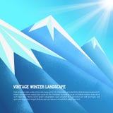 Винтажная предпосылка гор зимы Illustratin вектора зима Украины горы ландшафта dragobrat Стоковые Изображения RF