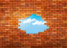 Винтажная предпосылка кирпичной стены с отверстием Стоковые Изображения RF