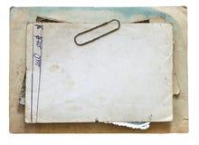 Винтажная предпосылка при старые бумага, письма и фото изолированная на белизне Стоковая Фотография
