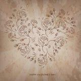 Винтажная предпосылка сердца влюбленности валентинки Стоковая Фотография RF
