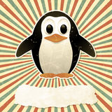 Винтажная предпосылка с пингвином Стоковое Фото