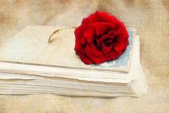 Винтажная предпосылка с подняла на старую книгу Стоковые Фото