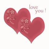 Винтажная предпосылка с сердцами для поздравлений и приглашений и страниц альбома Стоковое Фото