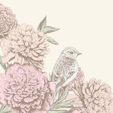 Винтажная предпосылка цветка с птицей Стоковые Фотографии RF