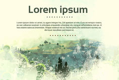 Винтажная природа леса зеленого цвета сельской местности ландшафта бесплатная иллюстрация