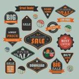 Винтажная продажа и выдвиженческие ярлыки рекламы Стоковые Фотографии RF