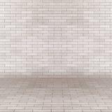 Винтажная пустая внутренняя перспектива с кирпичной стеной Стоковая Фотография