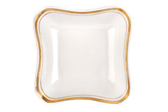 Винтажная плита необыкновенной формы при изолированная оправа золота Взгляд сверху шара Стоковое Изображение RF