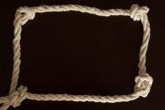 Винтажная рамка веревочки wite с узлами Стоковое фото RF