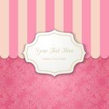 Винтажная рамка выреза с тенью на striped розовой предпосылке Стоковые Фото