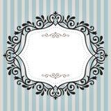 Винтажная рамка на голубой нашивке Стоковое Изображение