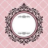 Винтажная рамка на розовой картине Стоковые Фото