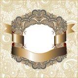 Винтажная рамка с лентой золота Стоковые Изображения