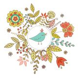 Винтажная рамка с птицей и цветками Стоковое Изображение RF