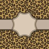 Винтажная рамка с текстурой леопарда Стоковое Изображение RF