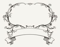 Винтажная рамка с флористическим орнаментом иллюстрация штока
