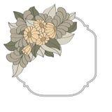 Винтажная рамка украшенная с цветками нарисованными рукой Стоковое Изображение RF