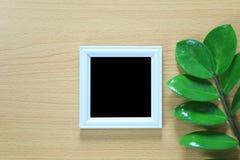 Винтажная рамка фото на деревянном поле и зеленых лист ветви p Стоковое Изображение RF
