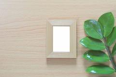 Винтажная рамка фото на деревянном поле и зеленых лист ветви p Стоковые Изображения