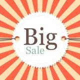 Винтажная ретро большая бирка продажи - ярлык Стоковые Фотографии RF