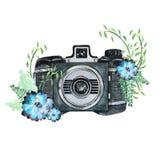 Винтажная ретро камера акварели Улучшите для логотипа фотографии Стоковые Фото