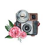 Винтажная ретро камера акварели Улучшите для логотипа фотографии Стоковые Изображения RF