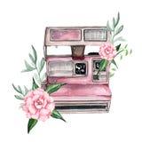Винтажная ретро камера акварели Улучшите для логотипа фотографии Стоковое Изображение