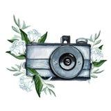 Винтажная ретро камера акварели Улучшите для логотипа фотографии Стоковая Фотография RF